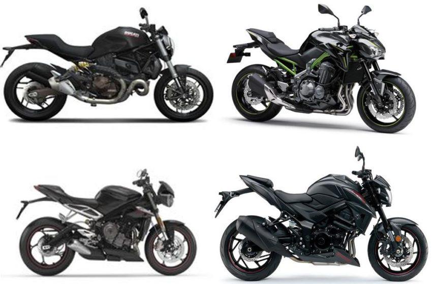 Comparison of Suzuki GSXS 750, Ducati Monster 821, Kawasaki z900 and Triumph Street Triple 765 S